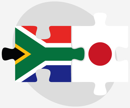 nihon: Vector Image - South Africa and Japan Flags in puzzle isolated on white background