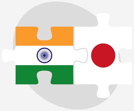nihon: Vector Image - India and Japan Flags in puzzle isolated on white background