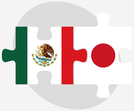 nihon: Vector Image - Mexico and Japan Flags in puzzle isolated on white background