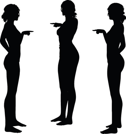 hand gesture: women silhouette with hand gesture of finger pointing