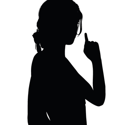 upwards: woman silhouette with hand gesture of finger pointing upwards