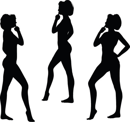 guess: women silhouette with hand gesture of thinking