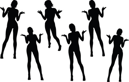 scandalous: women silhouette with hand gesture of hands open