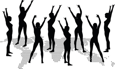 hand gesture: women silhouette with hand gesture of dancing