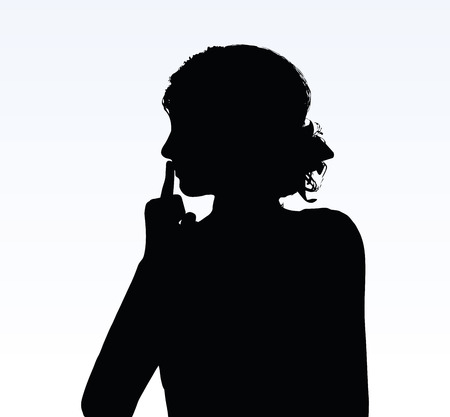 hush: woman silhouette with hand gesture of hush Illustration