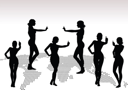 upwards: women silhouette with hand gesture of finger pointing upwards