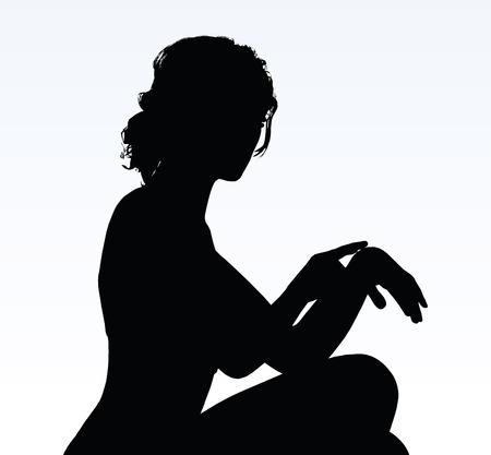reminding: woman silhouette with hand gesture of reminding time