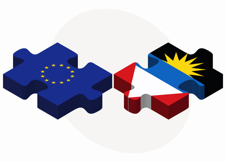 barbuda: European Union and Antigua and Barbuda Flags in puzzle isolated on white background Illustration