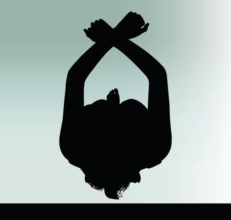 Silhouette der Frau mit Handschellen Handgeste Standard-Bild - 40066765