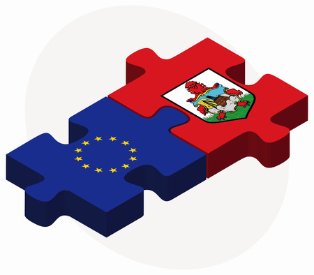 European Union and Bermuda Flags in puzzle  isolated on white background
