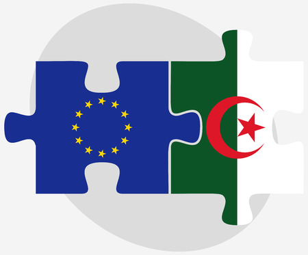 algerian flag: European Union and Algeria Flags in puzzle isolated on white background