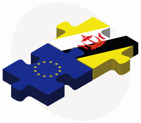 brunei darussalam: European Union and Brunei Darussalam Flags in puzzle  isolated on white background Illustration
