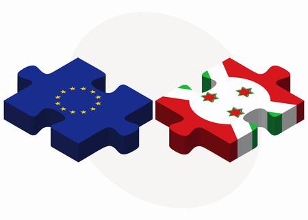 bujumbura: European Union and Burundi Flags in puzzle  isolated on white background