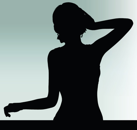 hark: woman silhouette with listen hand gesture