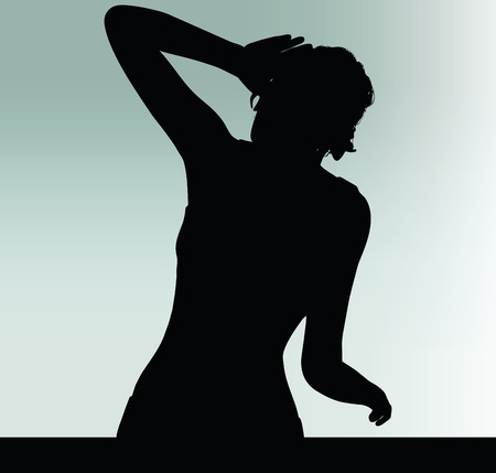 woman silhouette with listen hand gesture