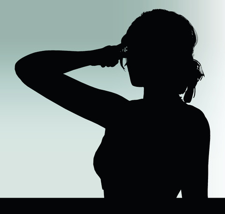 hand gesture: woman silhouette with think hand gesture