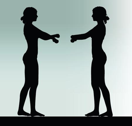 Silhouette der Frau mit Handschellen Handgeste Standard-Bild - 40067027
