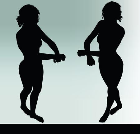 Silhouette der Frau mit Handschellen Handgeste Standard-Bild - 40067028