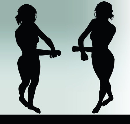 ineffective: woman silhouette with handcuffed hand gesture