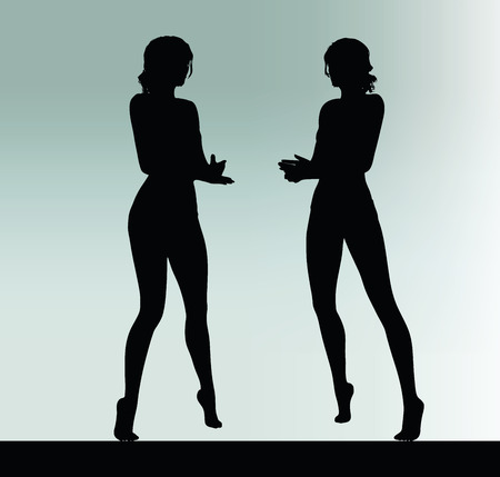 understandable: woman silhouette with explain hand gesture