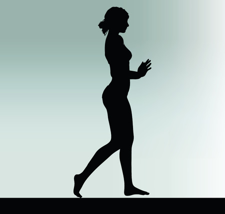 hinder: woman silhouette with push or stop hand gesture Illustration
