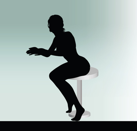 sit down: woman silhouette with sitting pose leaning on table