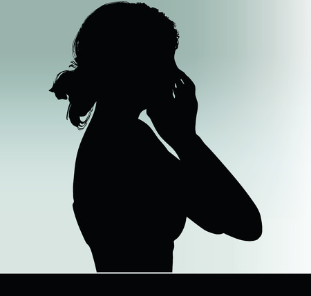 woman silhouette with hands on the mouth hand gesture Illustration