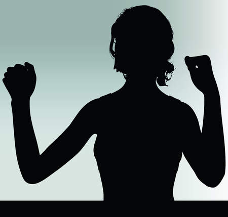 might: woman silhouette with power and might hand gesture