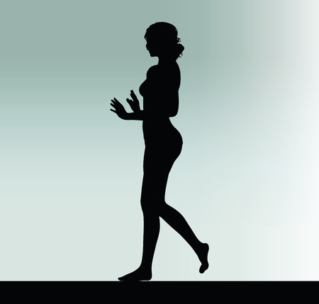 hand gesture: woman silhouette with push or stop hand gesture Illustration