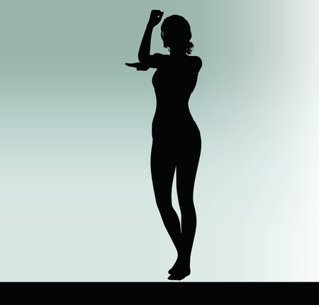 hand gesture: woman silhouette with hand gesture