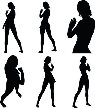granizo: silueta de mujer con gesto de la mano salude