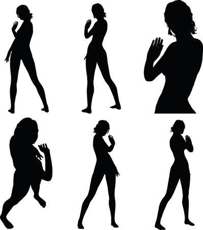 greet: woman silhouette with greet hand gesture Illustration