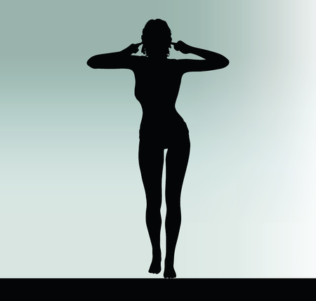 overlooking: woman silhouette with turn a deaf ear hand gesture