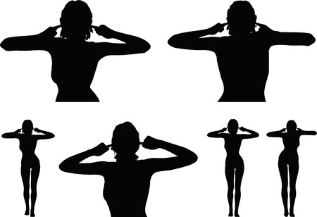 overlook: woman silhouette with turn a deaf ear hand gesture