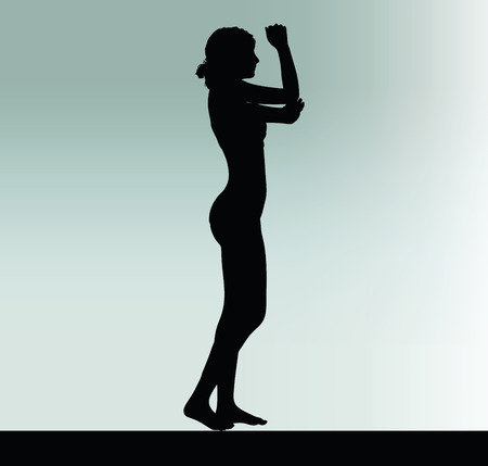 hand gesture: Vector Image - woman silhouette with hand gesture