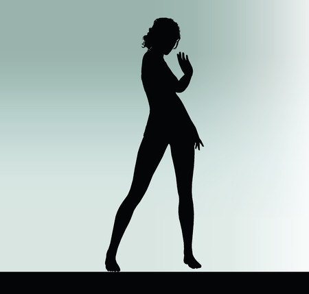 greet: woman silhouette with greet hand gesture