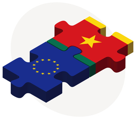 cameroonian: European Union and Cameroon Flags in puzzle isolated on white background Illustration
