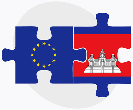 cambodian flag: European Union and Cambodia Flags in puzzle  isolated on white background Illustration