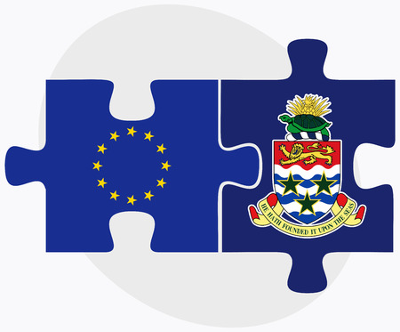 cayman islands: European Union and Cayman Islands Flags in puzzle isolated on white background