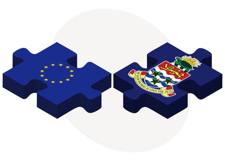 cayman: Drapeaux de l'Union europ�enne et les �les Cayman dans le puzzle isol� sur fond blanc