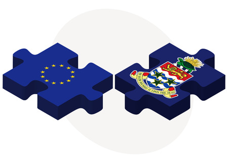 cayman: European Union and Cayman Islands Flags in puzzle isolated on white background