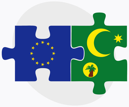 cocos: European Union and Cocos (Keeling) Islands Flags in puzzle isolated on white background Illustration