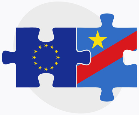 zaire: European Union and Democratic Republic Congo Flags in puzzle isolated on white background
