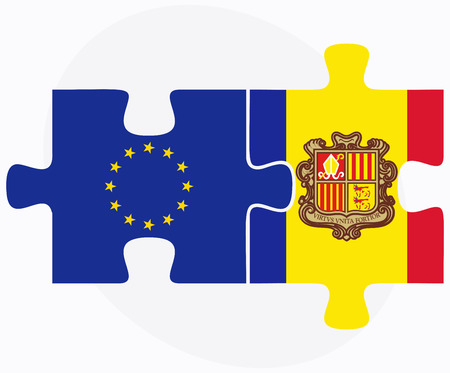 andorra: Vector Image - European Union and Andorra Flags in puzzle  isolated on white background
