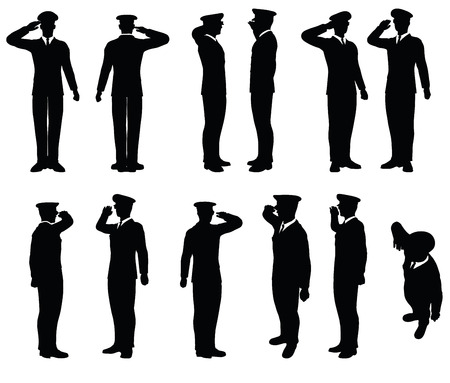 soldado: Imagen vectorial - silueta general de ejército con gesto de mano saludando Vectores