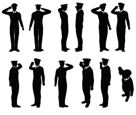 policier: Vectoriel - silhouette générale armée avec un geste de la main saluer Illustration