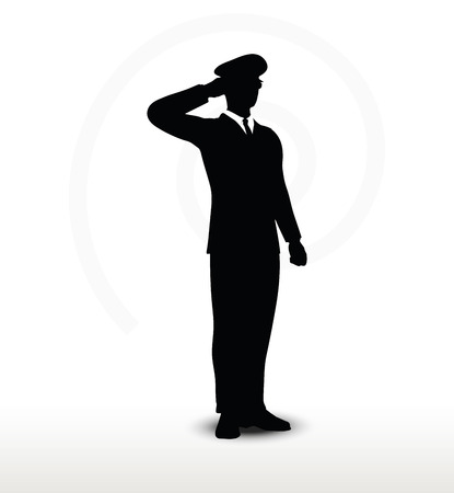 hand silhouette: Vector Image - army general silhouette with hand gesture saluting
