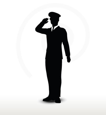 salute: Vector Image - army general silhouette with hand gesture saluting