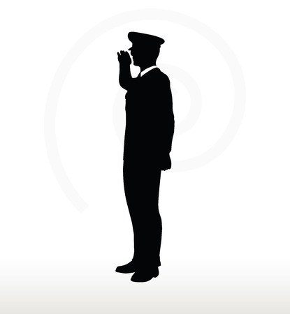 trooper: Vector Image - army general silhouette with hand gesture saluting
