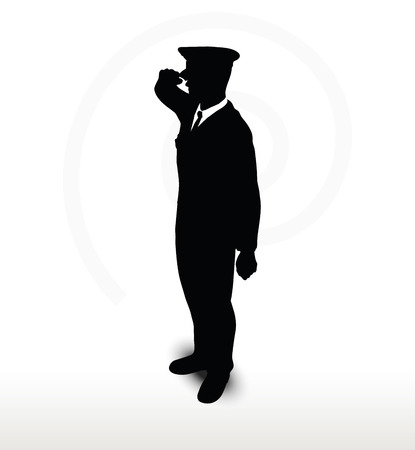 general: Vector Image - army general silhouette with hand gesture saluting